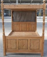 Antique Jacobean Style Pine Four-Poster Double Bed - SOLD